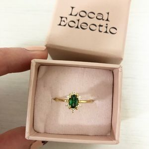 14K Gold Plated Emerald Ring